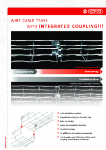 Wire cable trays with integrated coupling